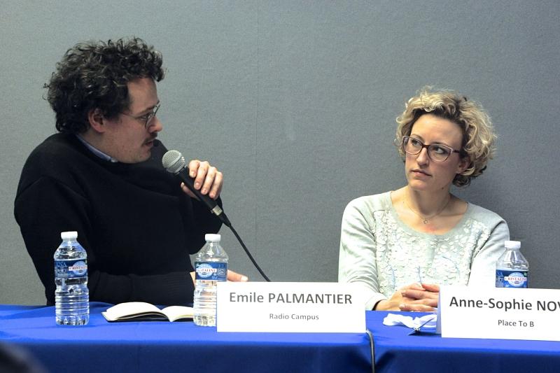 Émile Palmantier et Anne-Sophie Novel lors du débat sur la COP21 aux Assises de Tours. Crédit NF